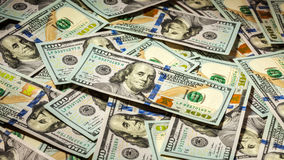 Achtergrond van de nieuwe rekeningen van Amerikaanse dollarsbankbiljetten Stock Foto's