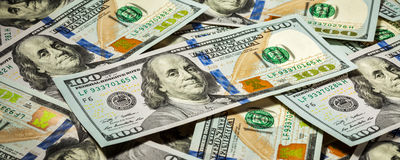 Achtergrond van de nieuwe rekeningen van Amerikaanse dollarsbankbiljetten Stock Afbeeldingen