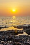 Achtergrond van de onduidelijk beeld de kleurrijke zonsondergang met shell op de rotsclose-up, abstracte aard Royalty-vrije Stock Foto's