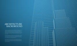 Achtergrond van de perspectief 3d architectuur met wireframewolkenkrabbers stock illustratie