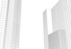 Achtergrond van de perspectief 3d architectuur met wireframewolkenkrabbers royalty-vrije illustratie