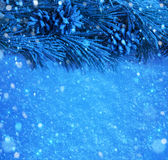 Achtergrond van de sneeuwKerstmis van de kunst de Blauwe Royalty-vrije Stock Fotografie