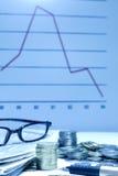 Achtergrond van de verhogings de abstracte financiën van de gelddaling Stock Foto's