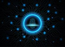 Achtergrond van de de vingerafdruk de donkerblauwe abstracte digitale conceptuele technologie van de Cyberveiligheid Computertech royalty-vrije illustratie