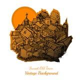Achtergrond van de Watercolour de oude stad Royalty-vrije Stock Foto