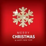 Achtergrond van de winter de Vrolijke Kerstmis met het gloeien Stock Foto's