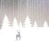 Achtergrond van de winterbos en herten Stock Afbeeldingen