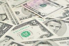 Achtergrond van dollarbankbiljetten. Stock Foto
