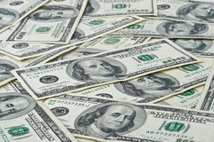 Achtergrond van dollarbankbiljetten Stock Afbeelding