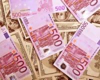 Achtergrond van dollars en euro Stock Fotografie