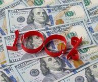 Achtergrond van dollars en 100 percenten Royalty-vrije Stock Afbeeldingen