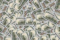 Achtergrond van 100 dollarsrekeningen Stock Fotografie
