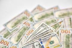 Achtergrond van 100 dollarsrekeningen Bi van geld Amerikaans honderd dollars Royalty-vrije Stock Fotografie
