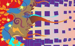 Achtergrond van donker gevild meisje Mulatvrouw op een violet abstract gebied Vector illustratie voor uw zoet water design Stock Foto's
