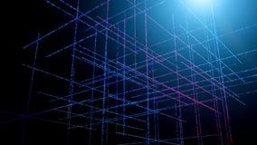 Achtergrond van driedimensionele fractal structuren en lichten voor wat betreft technologie, mededelingen, onderwijs en stock illustratie
