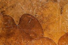 Achtergrond van droge oude bladeren van roestige kleur Stock Foto's