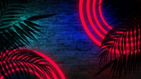 Achtergrond van een lege gang met bakstenen muren en neonlicht Bakstenen muren, neonstralen en gloed stock afbeeldingen