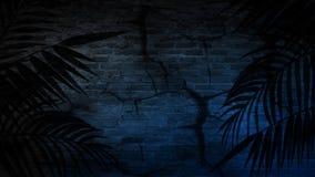 Achtergrond van een lege gang met bakstenen muren en neonlicht Bakstenen muren, neonstralen en gloed royalty-vrije stock foto's
