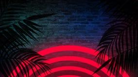 Achtergrond van een lege gang met bakstenen muren en neonlicht Bakstenen muren, neonstralen en gloed stock fotografie