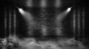 Achtergrond van een lege gang met bakstenen muren en neonlicht Bakstenen muren, neonstralen en gloed stock foto's