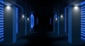 Achtergrond van een lege ruimte met muren en concrete vloer Lege ruimte, treden omhoog, lift, rook, smog, neonlichten, lantaarns royalty-vrije illustratie