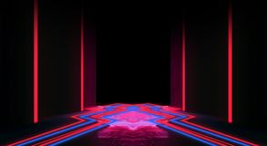 Achtergrond van een lege zwarte gang met neonlicht Abstracte achtergrond met lijnen en gloed royalty-vrije illustratie