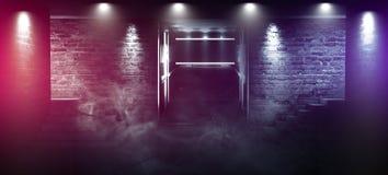 Achtergrond van een lege zwarte gang met neonlicht Abstracte achtergrond met lijnen en gloed royalty-vrije stock foto's