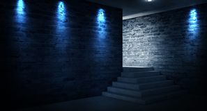 Achtergrond van een lege zwarte gang met neonlicht Abstracte achtergrond met lijnen en gloed stock foto