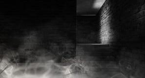 Achtergrond van een lege zwarte gang met neonlicht Abstracte achtergrond met lijnen en gloed royalty-vrije stock afbeeldingen