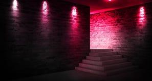 Achtergrond van een lege zwarte gang met neonlicht Abstracte achtergrond met lijnen en gloed royalty-vrije stock afbeelding