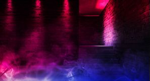 Achtergrond van een lege zwarte gang met neonlicht Abstracte achtergrond met lijnen en gloed royalty-vrije stock fotografie