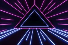 Achtergrond van een lege zwarte gang met neonlicht Abstracte achtergrond met lijnen en gloed het 3d teruggeven stock fotografie