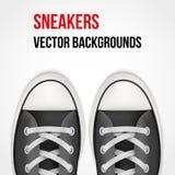 Achtergrond van eenvoudige tennisschoenen Realistische vector Royalty-vrije Stock Afbeelding