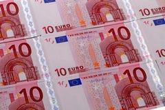 Achtergrond van 10 euro bankbiljetten Stock Afbeeldingen