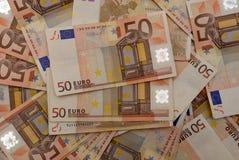 Achtergrond van euro rekeningen stock afbeelding