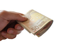 Achtergrond van euro rekeningen Tijd in geld Stock Afbeeldingen