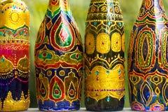 Achtergrond van flessen op een rij Stock Fotografie