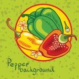 Achtergrond van gekleurde groene paprika's stock illustratie