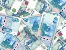 Achtergrond van geldstapel 1000 Russische roebel Stock Foto's