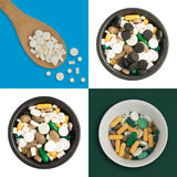 Achtergrond van geneeskrachtige tabletten Stock Foto