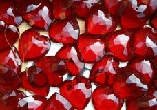 Achtergrond van glas rode harten Stock Afbeeldingen