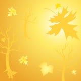Achtergrond van gouden boom en bladeren Royalty-vrije Stock Afbeeldingen