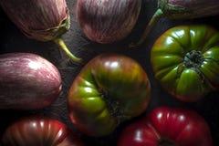 Achtergrond van grote gekleurde tomaten en aubergines Royalty-vrije Stock Afbeelding