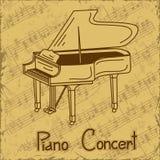 Achtergrond van grote piano en muziekstaaf Royalty-vrije Stock Afbeelding