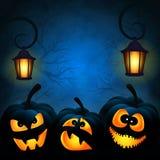 Achtergrond van Halloween met pompoenen Royalty-vrije Stock Afbeeldingen
