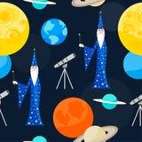 Achtergrond van het beeldverhaal de kosmische naadloze patroon Stock Afbeelding