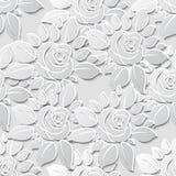 Achtergrond van het bloem de naadloze patroon met 3D elementen met schaduwen Stock Afbeelding