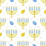 Achtergrond van het Chanoeka de naadloze patroon met menorah en dreidel Stock Foto