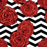 Achtergrond van het chevrons de naadloze patroon met hand getrokken rozen Retro uitstekend ontwerp Vector Royalty-vrije Stock Foto's