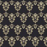 Achtergrond van het damast de uitstekende bloemen naadloze patroon Royalty-vrije Stock Foto